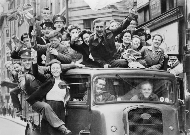 VE Day celebrations along the Strand in London, 8 May 1945.